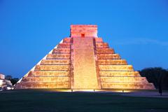 light show on chichen itza, mexico, one of the new seven wonders of the world - stock photo