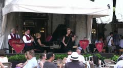 Live music entertainment at restaurant in Venice Stock Footage