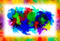 watercolor splat on grunge background - stock photo
