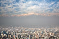 birdeye view of andes and santiago, chile, view from cerro san cristobal - stock photo