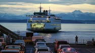 Stock Video Footage of Ferry Leaving Seattle