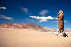 geological monolith near salar de tara, los flamencos national reserve - stock photo
