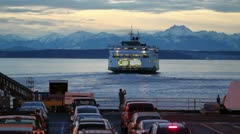 Ferry On Puget Sound Stock Footage