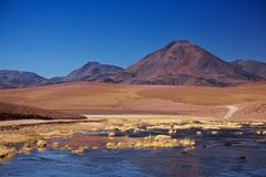 Stratovolcano cerro colorado near rio putana in atacama region, chile Stock Photos