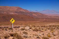 traffic sign in the desert atacama, chile - stock photo