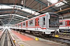 Metro junat varikolla Hostivar, Praha, Tšekki Kuvituskuvat