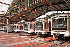 Subway trains in depot hostivar, prague, czech republic Stock Photos