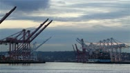 Stock Video Footage of port, cranes, container ship