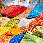 textile in tunisian market - stock photo