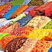 Textile in tunisian market Stock Photos