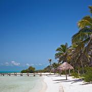 beach on the isla contoy, mexico - stock photo
