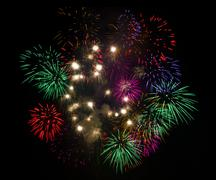 firework in night sky - stock photo