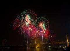 Firework in night sky Stock Photos