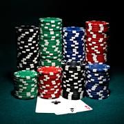 Chips for poker with pair of aces Stock Photos