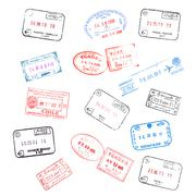 set of various passport visa stamps - stock photo