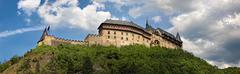 Panoramic view of castle karlstejn, czech republic Stock Photos