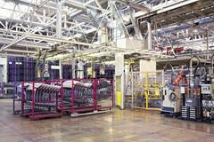Robots in a car factory Stock Photos