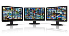 Multiple monitors with image gallery - stock illustration
