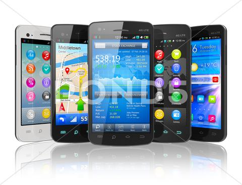 Stock Illustration of Set of touchscreen smartphones