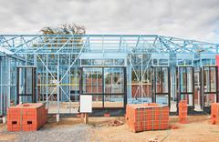 Stock Photo of new home construction framing