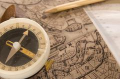 compass with map - stock photo