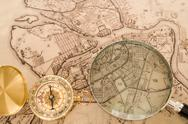 Stock Photo of compass with map