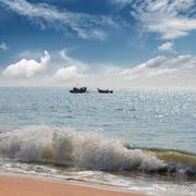 landscape with fisherman boats in sea - stock photo