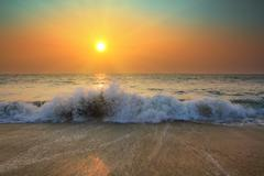 sunset in ocean - stock photo