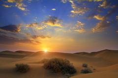 Sunrise in desert Stock Photos