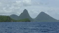 Piton Mountains From A Boat In St. Lucia HD Stock Footage