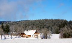 typical german house in snowy landscape - stock photo
