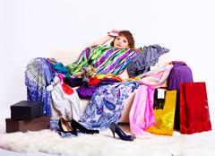 shopaholic woman - stock photo