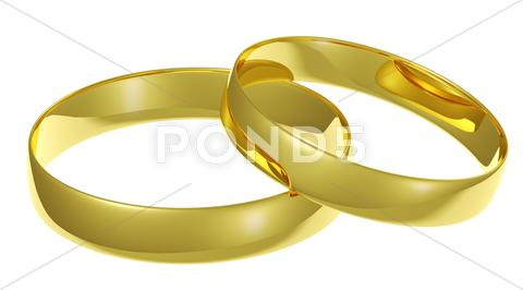 Stock Illustration of two golden wedding rings