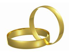 two chained golden wedding rings - stock illustration