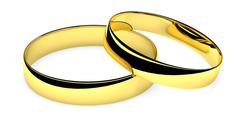 two lying golden wedding rings - stock illustration