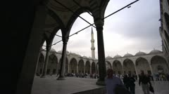 Mosque in Sultan Ahmet Square and minaret, Istanbul Stock Footage