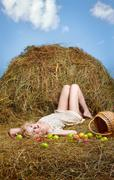 Country girl on hay Stock Photos