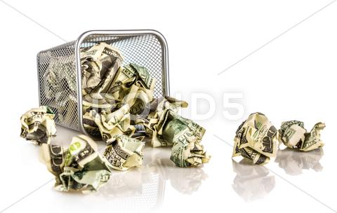 Stock photo of money in a basket