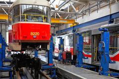 Trams in workshops in depot hostivar, prague Stock Photos