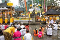Prayers at puru tirtha empul temple, bali, indonesia Stock Photos