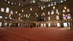 Sultan Ahmed Mosque, Blue Mosque interior, wide shot Stock Footage