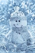 Christmas background with cheerful snowman Stock Photos