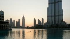 Sunset at Burj Khalifa HD Stock Footage