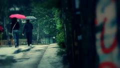 rain walk. - stock footage