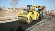 Stock Video Footage of Asphalt concrete laying with Road roller