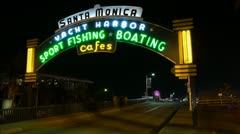 Santa Monica Pier Sign Close Up At Night HD Timelapse Stock Footage