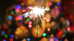 The bengal-lights and New Year garland lights background Stock Footage