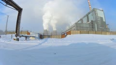 Coal-burning power plant in winter Stock Footage