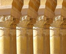 Stock Photo of carved corinthian capitals from a medieval cloister .