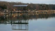 Fishing Pier on lake Stock Footage